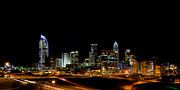 North Carolina Posters Framed Prints - Charlotte Skyline panoramic Framed Print by Patrick Schneider
