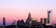 Digital Photo Charlotte Nc Prints - Charlotte Skyline vibrant pink Print by Patrick Schneider