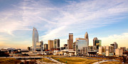 City Scapes Framed Prints Prints - Charlotte Skyline wispy clouds Print by Patrick Schneider