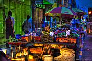 Dusk Digital Art Originals - Charlotte Street Vendors by Sarita Rampersad