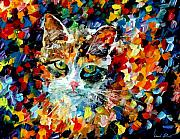 Kitties Metal Prints - Charming Cat Metal Print by Leonid Afremov