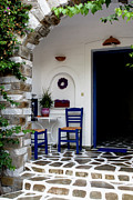 Entryway Prints - Charming Paros Porch Print by Lorraine Devon Wilke