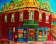 Corner Stores Paintings - Charming Store  On The Corner by Carole Spandau