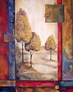 Ocher Painting Framed Prints - Charming Trees Framed Print by Jean Plout