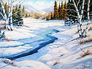 Winter Trees Painting Posters - Charming Winter Poster by Richard T Pranke