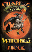 Cat Mixed Media Posters - Charms of the Witching Hour Poster by Joel Payne
