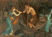 Psyche Metal Prints - Charon and Psyche Metal Print by John Roddam Spencer Stanhope