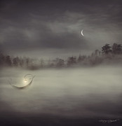 Night Angel Digital Art Prints - Charons Boat Print by Lourry Legarde