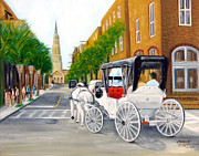 Streetscape Paintings - Charriot Stroll in Charleston by Leonardo Ruggieri