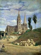 France Painting Prints - Chartres Cathedral Print by Jean Baptiste Camille Corot