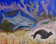 Sharks Paintings - Chase by Stefanie Nellett