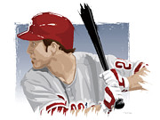 Phillies  Posters - Chase Utley Poster by Scott Weigner