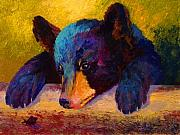 Wild Animals Paintings - Chasing Bugs - Black Bear Cub by Marion Rose