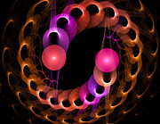 Neon Colors Digital Art - Chasing Spirals by Carolyn Marshall