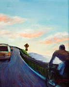 Road Travel Painting Posters - Chasing Sunset Poster by Athena  Mantle
