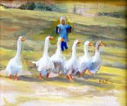 Geese Paintings - Chasing the Geese by Pat White