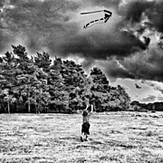 Children Photos - #chasing The #kite #clouds #children by Nikki Sheppard