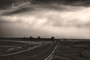Lightning Bolts Prints - Chasing The Storm - County Rd 95 and Highway 52 - CO- Sepia Print by James Bo Insogna