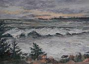 Coastal Maine Pastels Posters - Chasing the Storm Poster by Alicia Drakiotes
