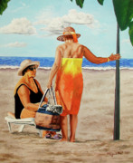 Chat On The Beach - Chat En La Playa Print by Rezzan Erguvan-Onal