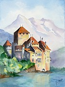 Leman Paintings - Chateau de Chillon in Switzerland by Jean White