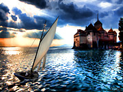 Switzerland Paintings - Chateau de Chillon on Lake Geneva by Jann Paxton