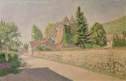 French Village Posters - Chateau de Comblat Poster by Paul Signac