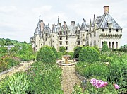 Europe Drawings - Chateau-de-Langeais Flower Garden by Joseph Hendrix