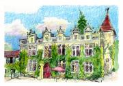 Historic Home Painting Prints - Chateau de Maumont Print by Tilly Strauss