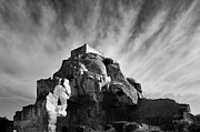 Black And White Rural Photography Prints - Chateau des Baux Print by Chateau des Baux