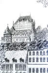 Cityscape Drawings - Chateau Frontenac by Janice Best