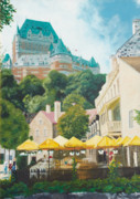 Quebec Paintings - Chateau Frontenac by Liz Zahara