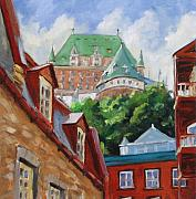 Hotel Painting Framed Prints - Chateau Frontenac Framed Print by Richard T Pranke