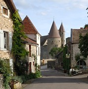 European Street Scene Prints - Chateauneuf en Auxois Burgundy France Print by Marilyn Dunlap