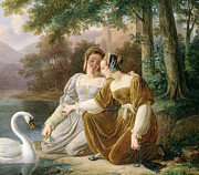 Swan; Feeding; Landscape; Park; River; Renaissance Paintings - Chatelaines by Pierre Henri Revoil