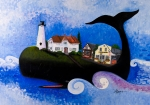 Cape Cod Lighthouse Paintings - Chatham - A Whale of a Town by Theresa LaBrecque