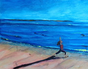 Woman Doing Yoga Paintings - Chatham Beach Yoga by Valerie Twomey