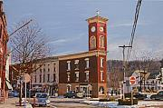 Chatham Painting Originals - Chatham Clock Tower by Kenneth Young