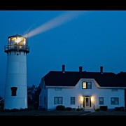 Lighthouse Photos - Chatham Light at Twilight by Justin Connor