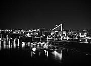 Tennessee Aquarium Posters - Chattanooga Riverwalk Night Black and White Poster by Larry Underwood