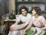 Maids Framed Prints - Chatterboxes Framed Print by Thomas Benjamin Kennington