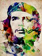 Stencil Framed Prints - Che Guevara Urban Watercolor Framed Print by Michael Tompsett