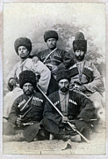 1880s Framed Prints - Chechen Cossacks. Wedding Party Group Framed Print by Everett