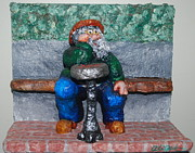 Man Sculpture Originals - Checkers in the Park by Alison  Galvan