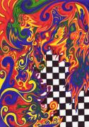 Spirals Mixed Media Posters - Checkers  Poster by Mandy Shupp