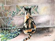 Watercolor Cat Paintings - Checking Out the Neighbors Backyard by Arline Wagner