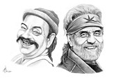 Graphite Drawings Drawings Framed Prints - Cheech and Chong Framed Print by Murphy Elliott