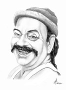 Famous People Drawings - Cheech Merrin by Murphy Elliott