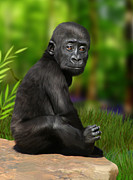 Gorilla Digital Art Metal Prints - Cheeky Boy Metal Print by Julie L Hoddinott