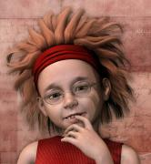 3d Graphic Digital Art - Cheeky Little Miss by Jutta Maria Pusl